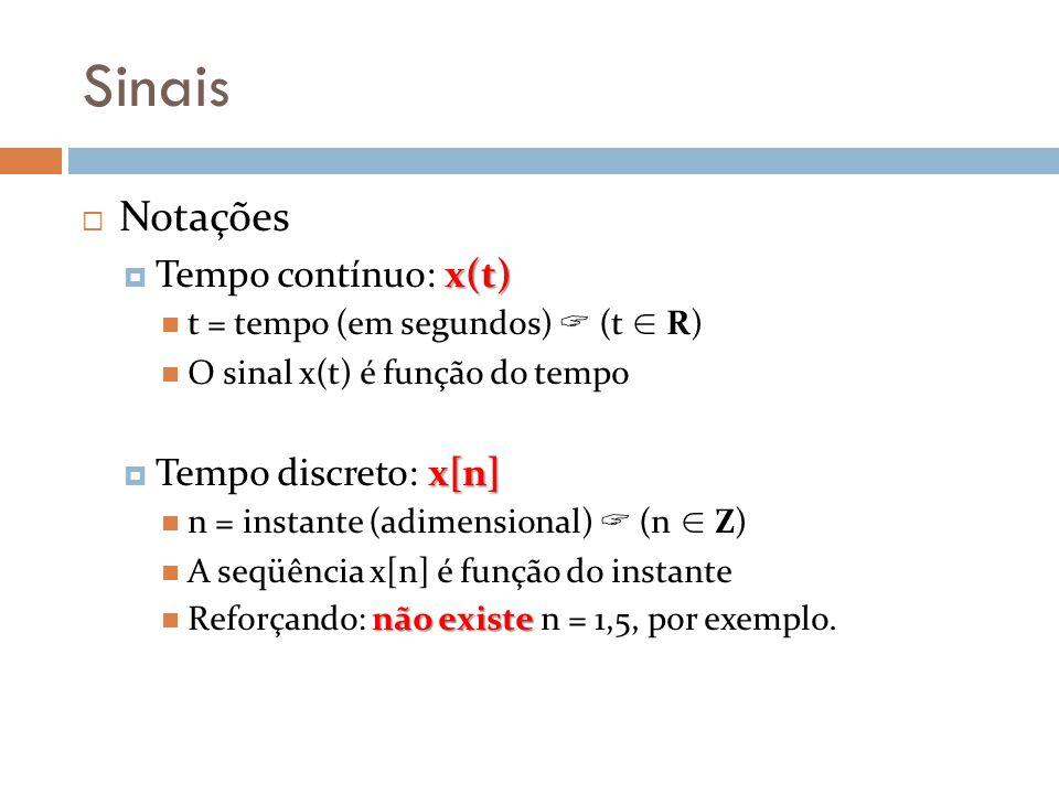 Sinais Notações Tempo contínuo: x(t) Tempo discreto: x[n]